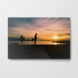 Sunset Walk Metal Print