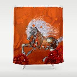 Steampunk, wonderful wild steampunk horse Shower Curtain