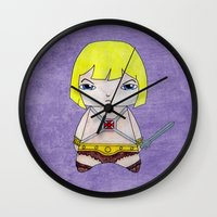 conan Wall Clocks featuring A Boy - He-Man by Christophe Chiozzi