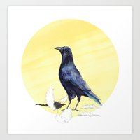 crow Art Prints featuring Crow by ankastan