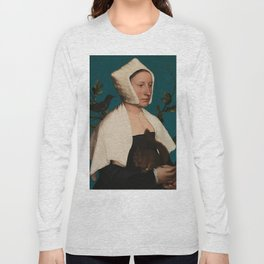 PORTRAIT OF A LADY WITH A SQUIRREL AND A STARLING - HANS HOLBEIN Long Sleeve T-shirt