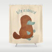 platypus Shower Curtains featuring Platypi Don't Lie by MidnightCoffee