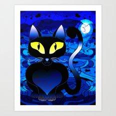 Black Cat Midnight Art Print