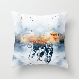 French bulldog and landscape abstract design Throw Pillow