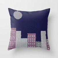 buildings Throw Pillows featuring Buildings by Marie Libot