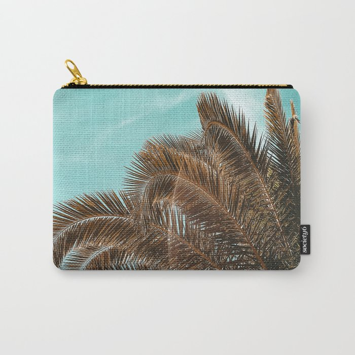 Summer Palm Leaf Print {1 of 3} | Teal Sun Sky Beach Vibes Tropical Plant Nature Art Carry-All Pouch