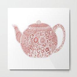 Rose Gold Tea Pot Head Metal Print