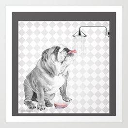 Bulldog taking a shower Art Print