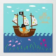 Little Captain Pirate Octopus Canvas Print