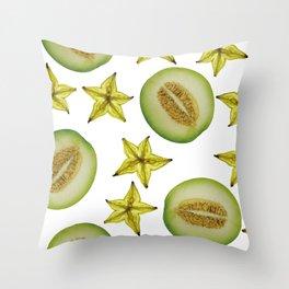 Melon and Starfruit pattern Design White Throw Pillow