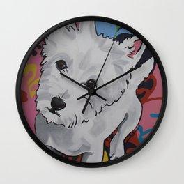 Pop Art Westie Named Poppy Wall Clock