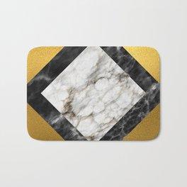 Gold foil white black marble #5 Bath Mat