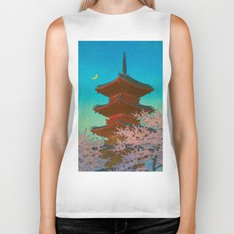 Vintage Japanese Woodblock Print Pastel Colors Blue pink Teal Shinto Shrine Cherry Blossom Tree Biker Tank