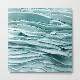 Turquoise blue mineral detail texture Metal Print