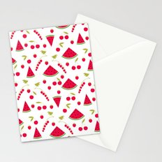 Seamless pattern watermelon cherry raspberry currant background Stationery Cards