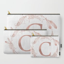 Letter C Rose Gold Pink Initial Monogram Carry-All Pouch