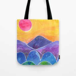 The Hills Are Alive Yellow Sky Pink Sun Tote Bag
