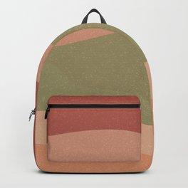 Grainy Earth-tone Waves Abstract - deep mauve, green, cream, peach Backpack