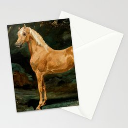 """Théodore Géricault """"Palomino Arabian Stallion frightened by two felines"""" Stationery Cards"""