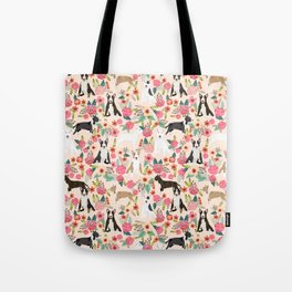 Bull Terrier dog breed pattern florals dog lover gifts pet friendly designs Tote Bag