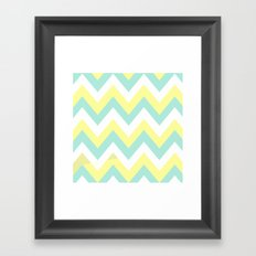 MINT & YELLOW CHEVRON Framed Art Print