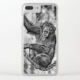 AnimalArtBW_Chimpanzee_20170901_by_JAMColorsSpecial Clear iPhone Case