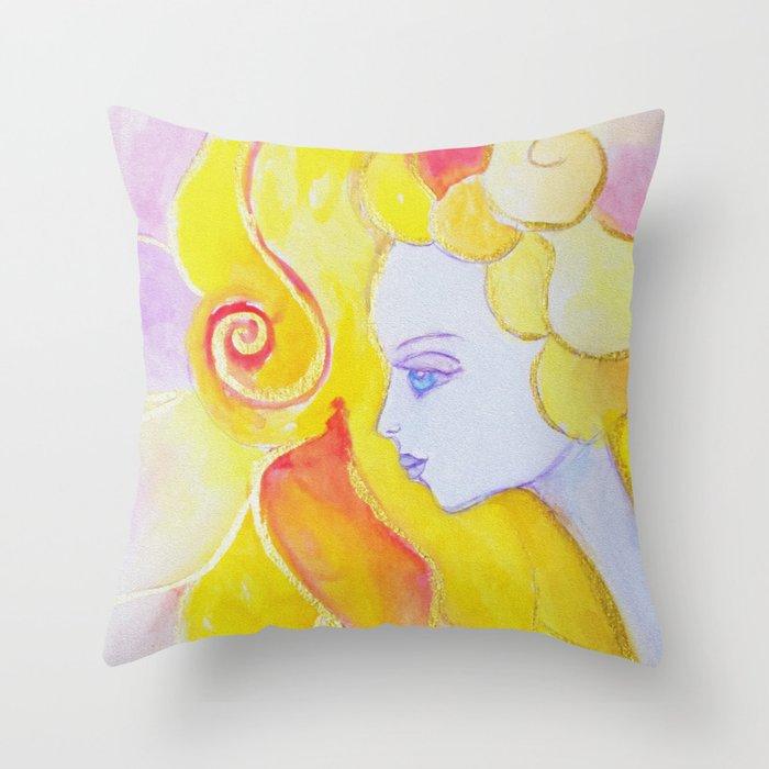 Lady Autumn Watercolor Art Nouveau Gold Throw Pillow