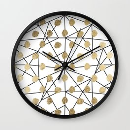Black faux gold geometrical chic polka dots Wall Clock