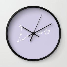 Pisces Zodiac Constellation - Lavender Wall Clock