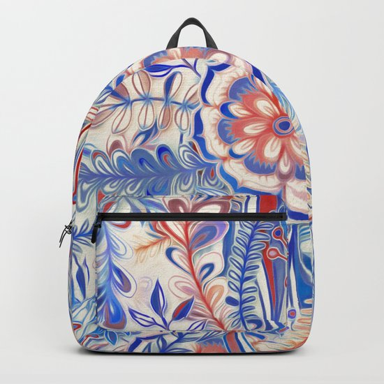 Boho Flower Burst in Red and Blue Backpack