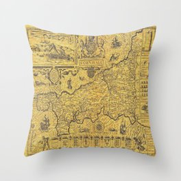 Detailed Retro Map of Cornwall Throw Pillow
