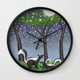starlit striped skunks Wall Clock