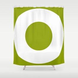 Sans Serif O. White on Green. Shower Curtain
