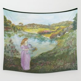 Girl Setting a Bird Free Wall Tapestry