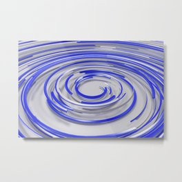 Glowing blue concentric spirals on white Metal Print
