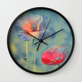 Vintage poppies (9) Wall Clock