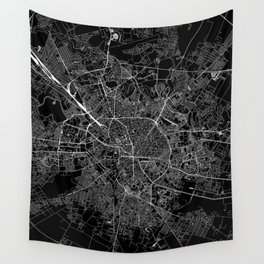 Bucharest Black Map Wall Tapestry