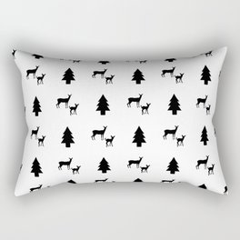 Mama & Baby Deer Pattern: Black & White Rectangular Pillow