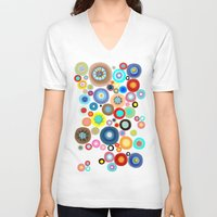contemporary V-neck T-shirts featuring Contemporary Circles by Ruth Fitta Schulz