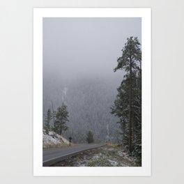 Snowy Drive through Yellowstone Art Print