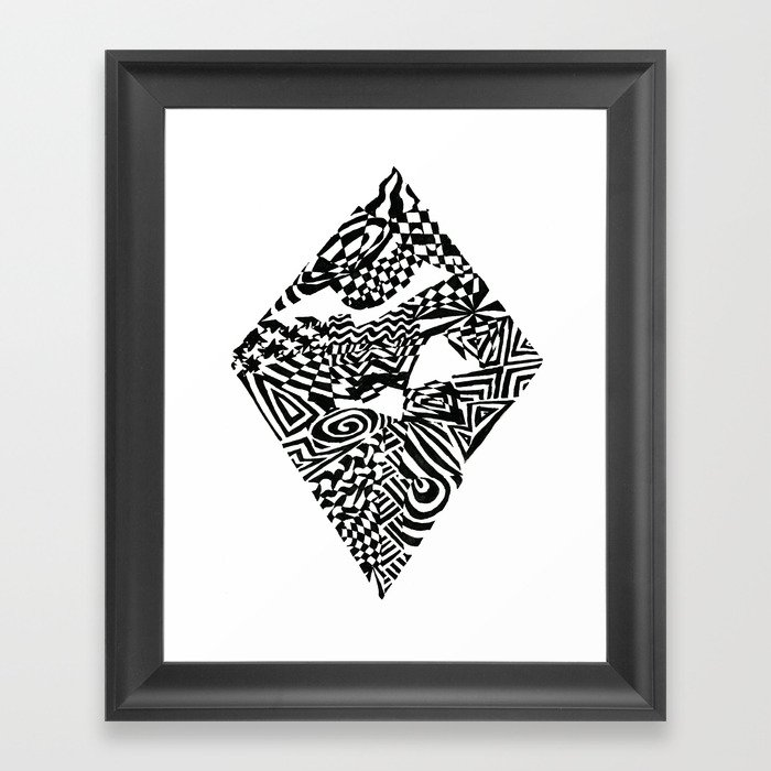 Diamond Black White Abstract Ink Drawing Framed Art Print By Wlaves