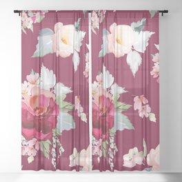 Flower design Sheer Curtain