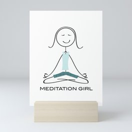 Funny Womens Meditation, Mindfulness Gifts, Meditate, Meditation Girl Mini Art Print