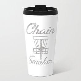 Chain Smoker Disc Golf Funny Distressed Travel Mug
