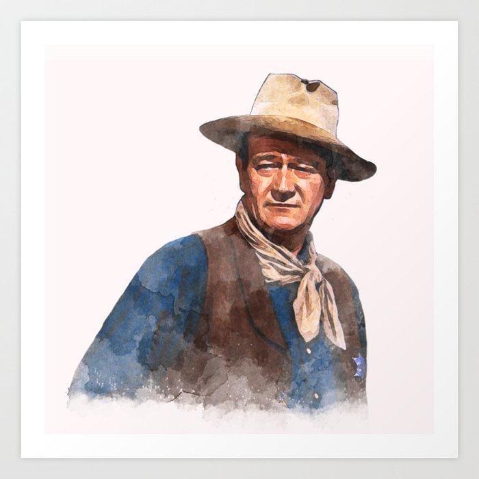 John Wayne - The Duke - Watercolor Art Print