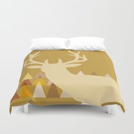 Deer Head Geometric Triangles | mustard yellow taupe Duvet Cover