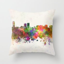 Baton Rouge skyline in watercolor background Throw Pillow