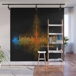 Dubai, emirates, City Cityscape Skyline watercolor art v4 Wall Mural