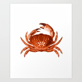 Crab Red Orange Nautical Vintage Style Art Print Beach House Decor Art Print