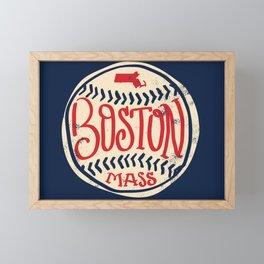 Hand Drawn Baseball for Boston with custom Lettering Framed Mini Art Print
